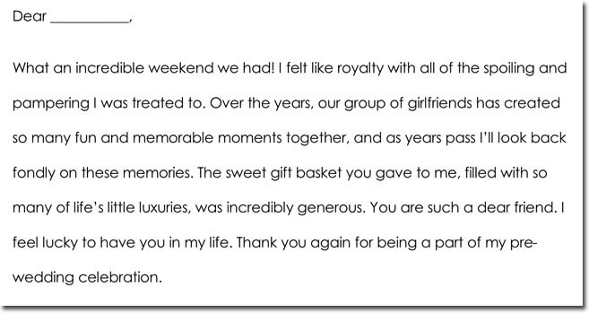 Bachelorette Party Thank You Card Wording