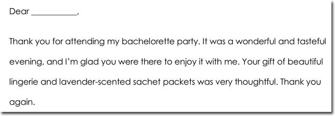 Bachelorette Party Thank You Letter Sample