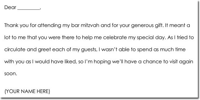 Bar Mitzvah Bat Mitzvah Thank You Letter Sample