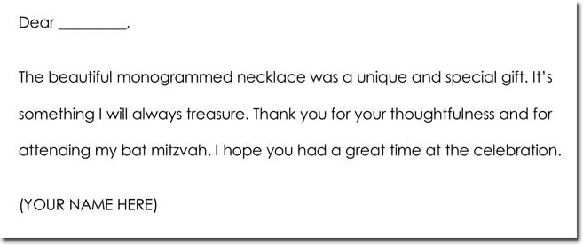 Bar Mitzvah Bat Mitzvah Thank You Note Wording