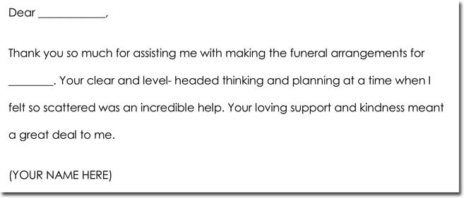 Bereavement Thank You Note Example