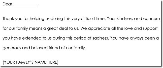 Bereavement Thank You Note Sample