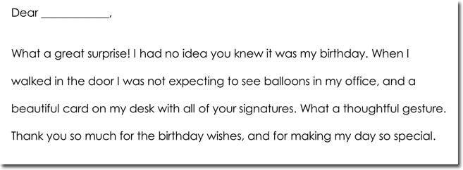 Birthday Gift Thank You Letter Format
