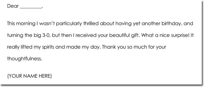 Birthday Thank You Card Wording