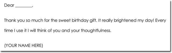 Birthday Thank You Note Sample