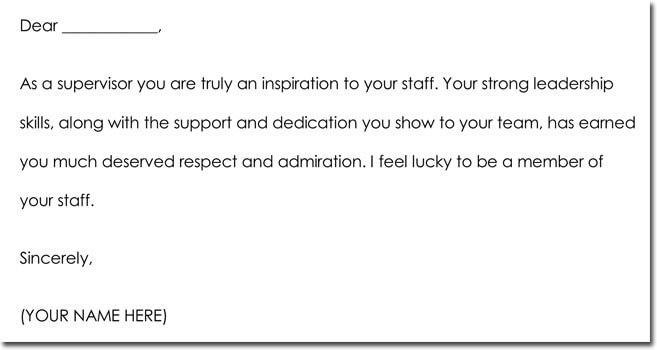 Boss Thank You Letter Wording Example