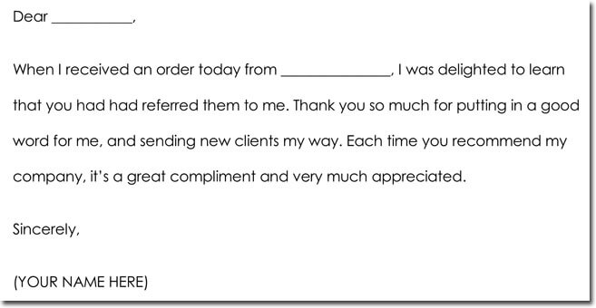 Business Referral Thank You Letter Wording