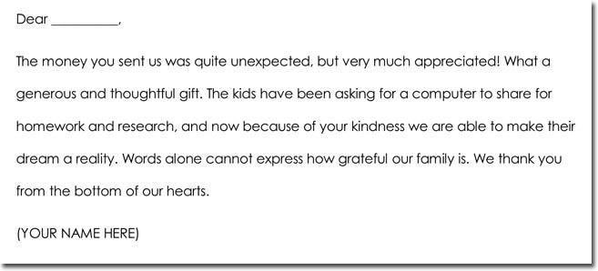 Cash Gift Thank You Note Wording