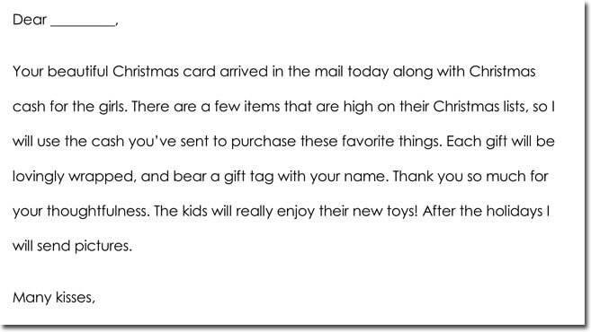 Christmas Thank You Card Wording Example