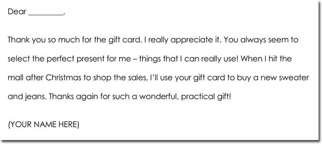 Christmas Gifts Thank You Note, Card, Letter Samples