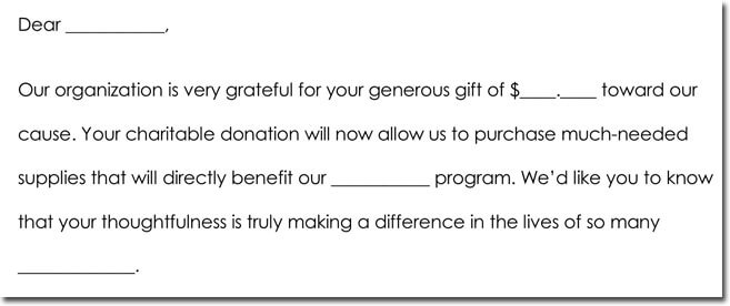 Donation thank you note samples formats wording ideas donation thank you note format altavistaventures Choice Image
