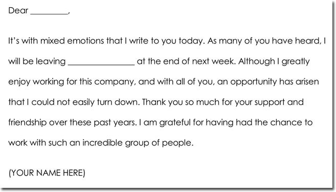 Employee Farewell Thank You Letter Example