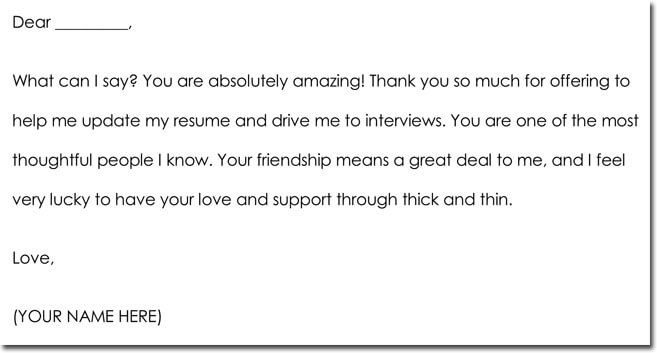 Friendship Thank You Letter Example