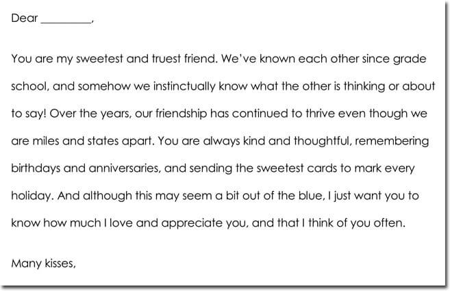 Friendship Thank You Letter Sample