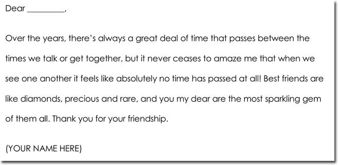 Friendship Thank You Note Wording