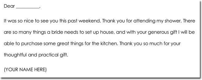 General Thank You Note for Money Gift