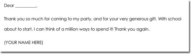 Gift Thank You Note Wording for Cash Gift