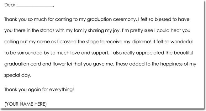 Graduation Gift Thank You Letter Sample