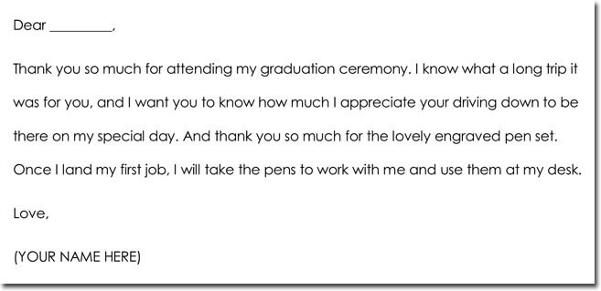 Graduation Gift Thank You Note Sample