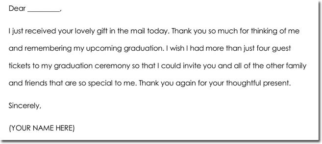 Graduation Thank You Note Example