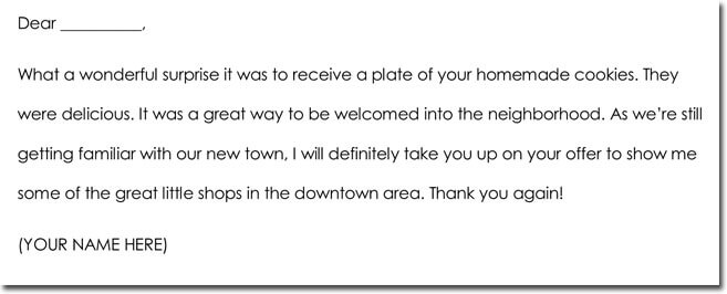 Hospitality Thank You Note Example