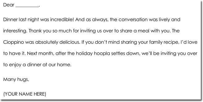 Hospitality Thank You Note Sample