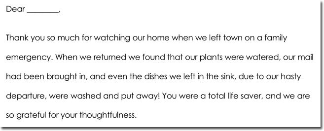 House Sitting Thank You Note Example 01