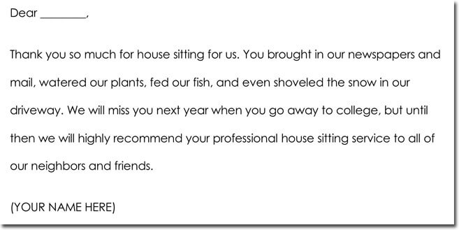 House Sitting Thank You Note Sample