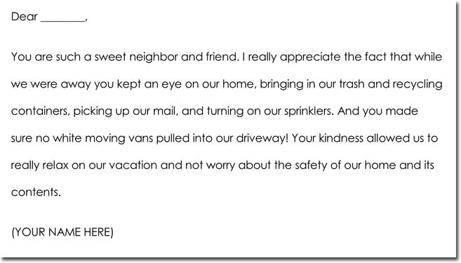 House Sitting Thank You Note Wording