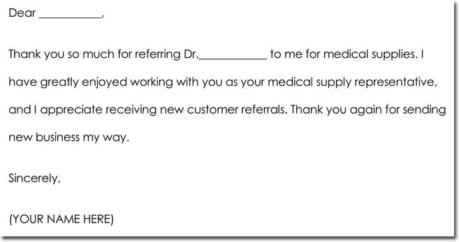 Medical Business Referral Thank You Note Sample Wording