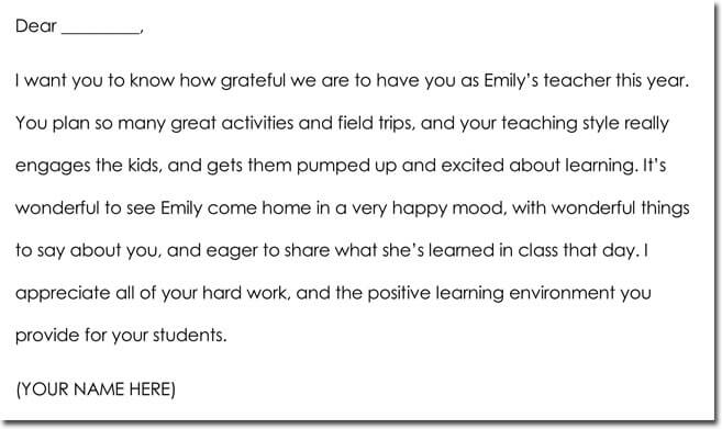 parent to teacher thank you letter example