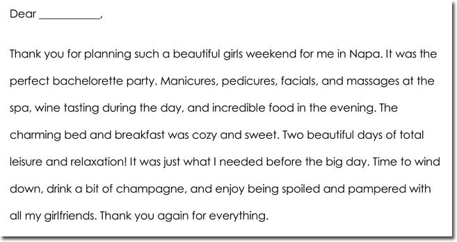 Sample Bachelorette party Thank You Note Templates