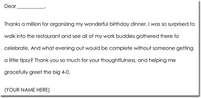 Sample Birthday Gift Thank You Letter