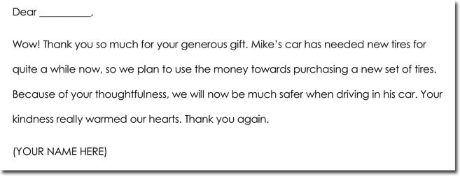 Sample Cash Gift Thank You Note Template