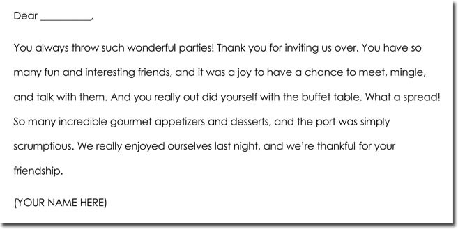 Sample Hospitality Thank You Note Templates