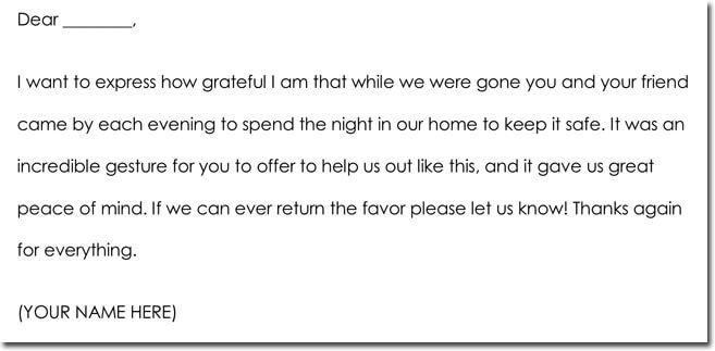 House Sitting Thank You Note Samples  Wording Ideas