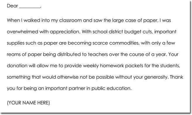 teacher to parent thank you letter sample