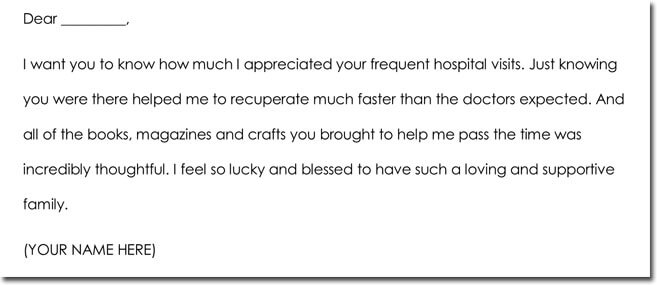 Hospital Visit Thank You Note Sample