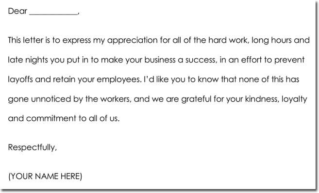 Thank You Note for Boss Example