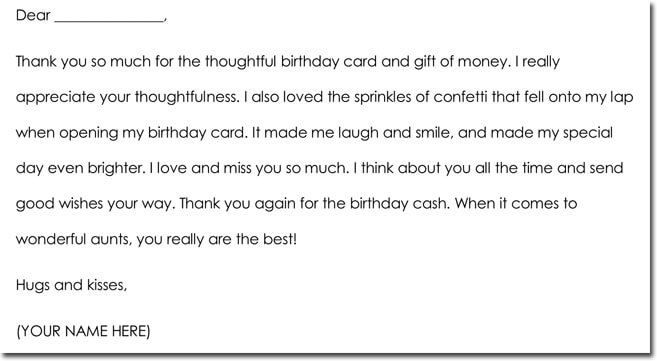 Cash Gift Thank You Note Templates