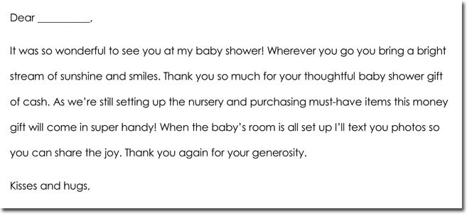 Cash Gift Thank You Note Template 03