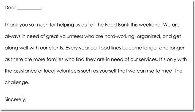 Volunteer Thank You Note Sample
