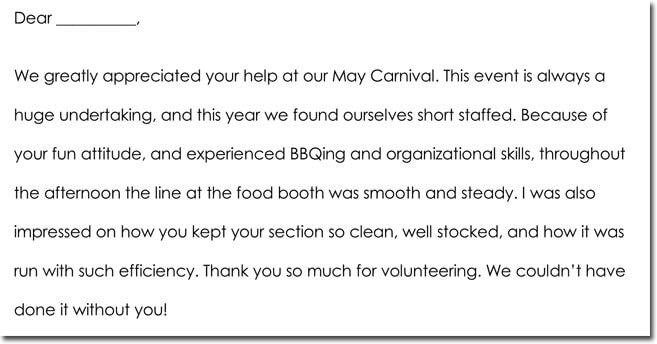 thank you letter to volunteers