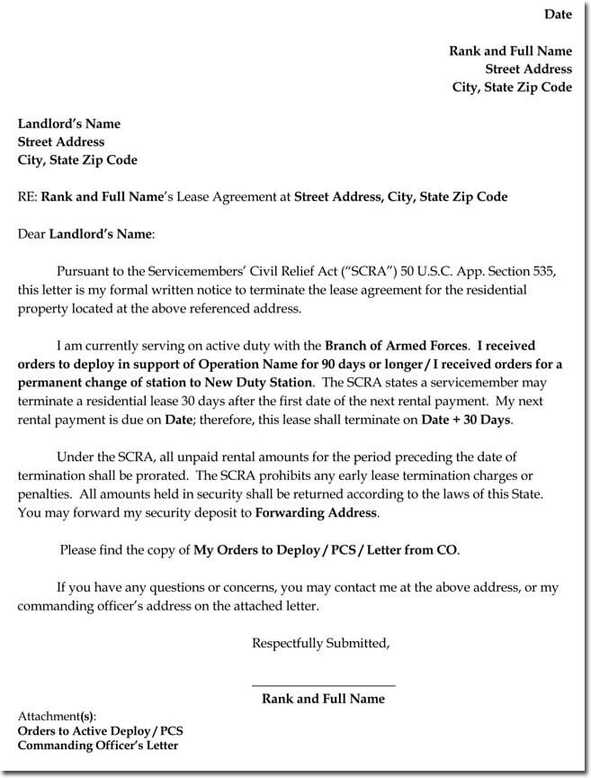 Apartment Lease Termination Letter Sample