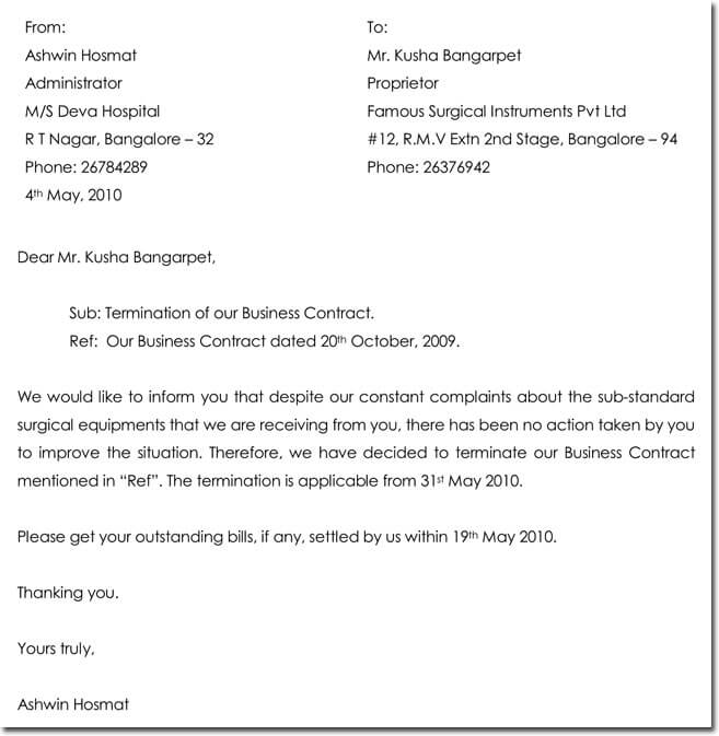 Business Contract Or Agreement Termination Letter Sample