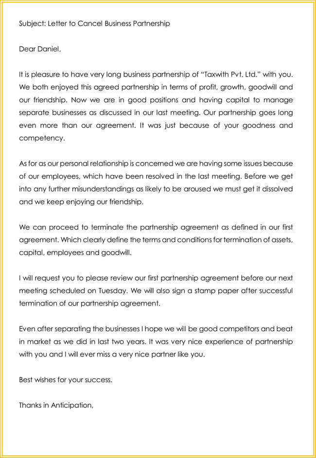 Business Partnership Termination Letter Template