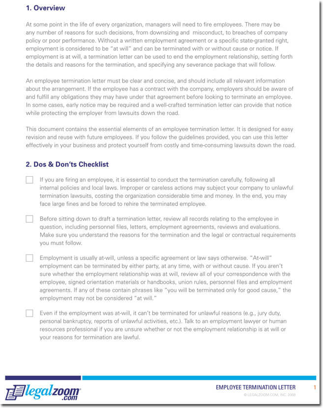 Employee Termination Guide  Employer Termination Letter Sample