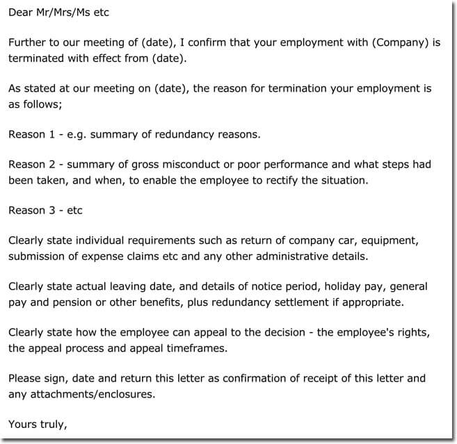 Employee Termination Letter Sample  Employment Termination Letters