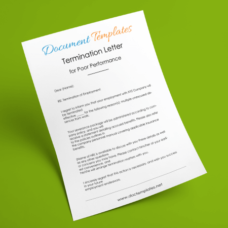 Sample Employee Termination Letter for Poor Performance