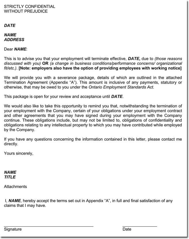Free Employment Contract Termination Letter Sample